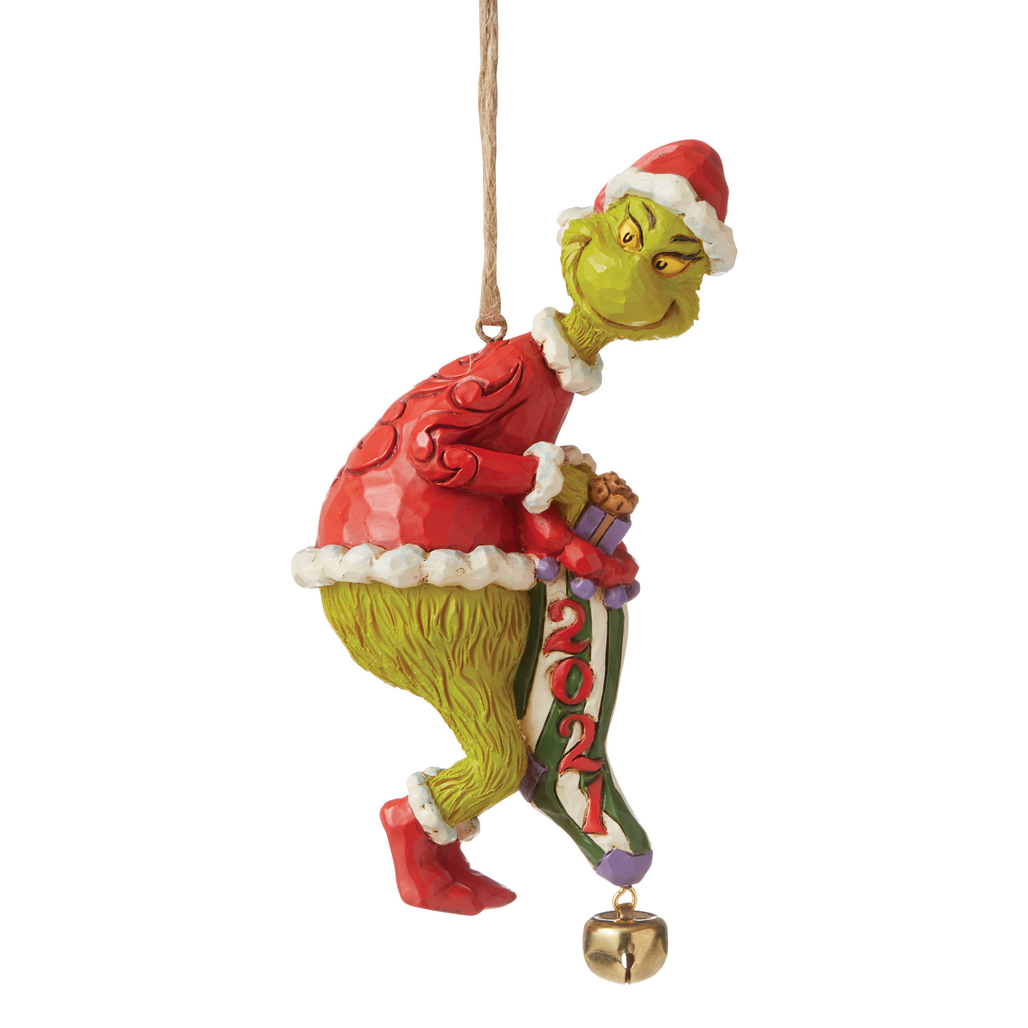 Jim Shore - Christmas Accessories 'Dated Grinch Stealing Stocking (Hanging Ornament) N' 2021