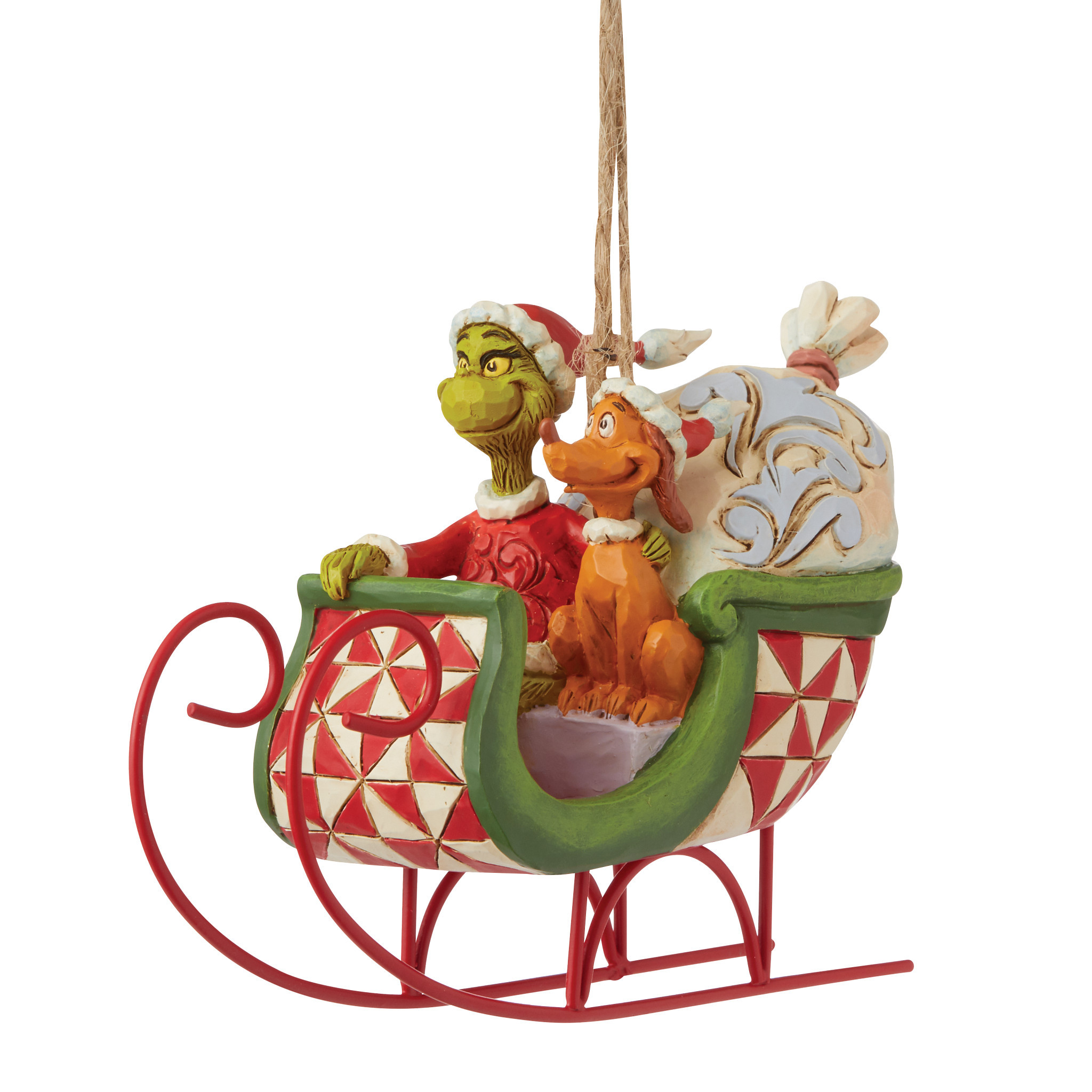 Jim Shore - Christmas Accessories 'Grinch & Max in Sleigh (Hanging Ornament) N' 2021