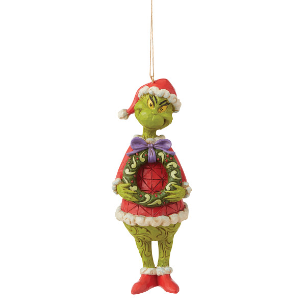 Jim Shore - Christmas Accessories 'Grinch with Wreath (Hanging Ornament) N' 2021