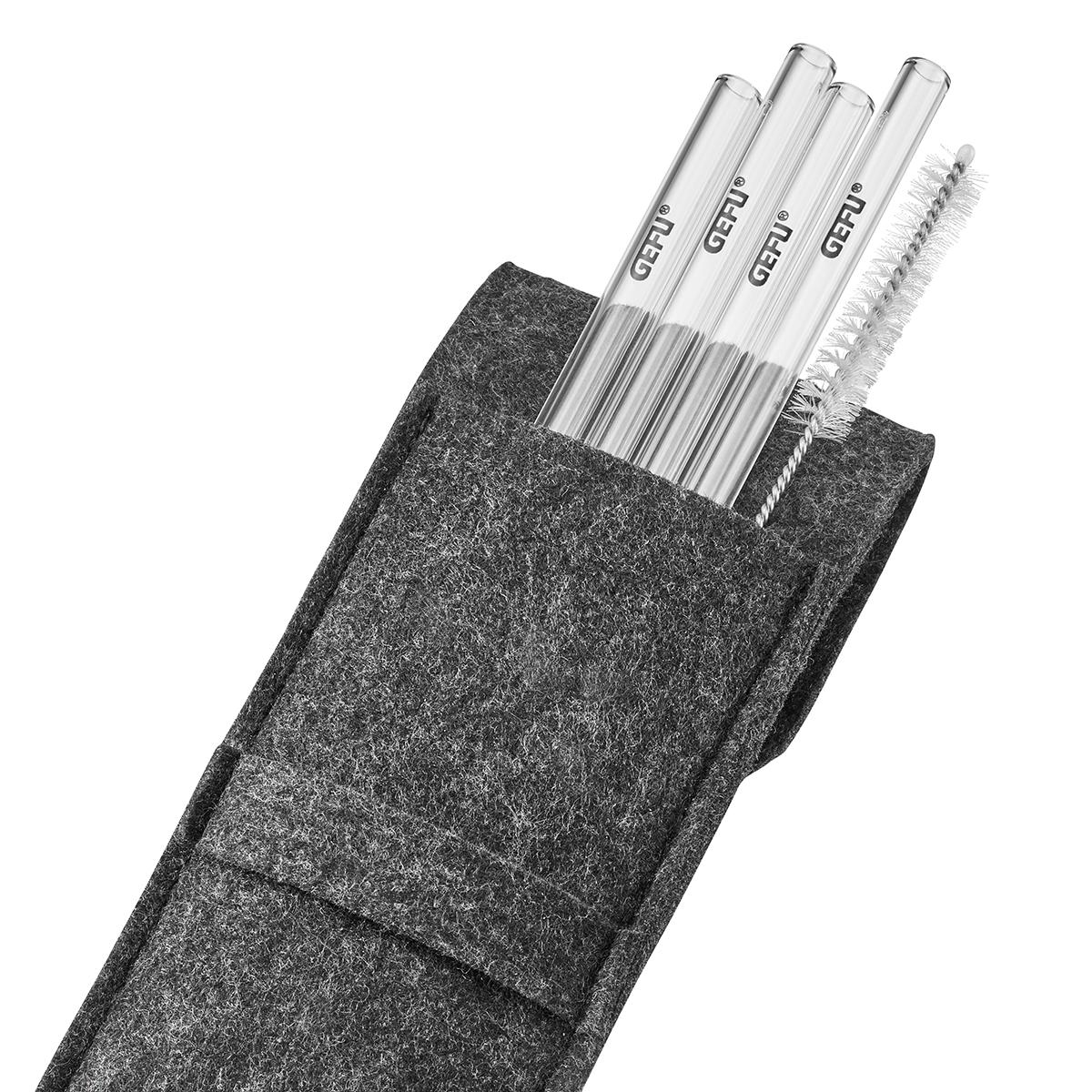 GEFU - Glastrinkhalm 18cm, 4 Stück in Filztasche
